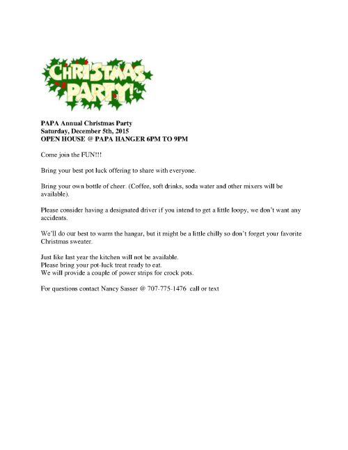 PAPA Annual Christmas Party Invite12-5-2015